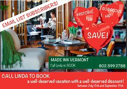 B&B Burlington, Made INN Vermont, an Urban-Chic Boutique... bedandbreakfast.com Relaxing amenities at Burlington's Historic Inn, Made INN Vermont Bed & Breakfast. Tea Time on our Victorian Porch at Made INN Vermont Bed &... Social Results: Facebook Feed, Latest Tweets, Pinterest