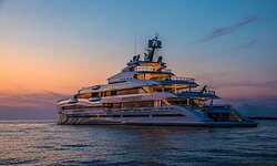 There're yacht ad there're...superyacht 107m Benetti Lana at anchor