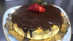 Tarta de queso y calabaza con cobertura de chocolate!!