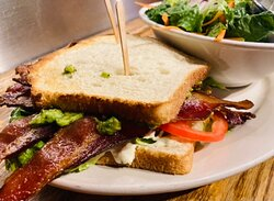 Today Wednesday, July 7th The grill will be open 3:30 PM to 7:30 PM the bar will stay open till 11 PM. BLTA 🥓🥬🍅🥑 with your choice of side!
