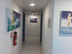 The decoration on the corridor inn the 6th floor with art prints of Painter Theo Kasinidis
