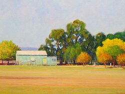 Horizontal lines of another farmscape: 'Farm at Goomalibee' at Benalla. Victoria. Centre part of picture featuring farm buildings and fences.