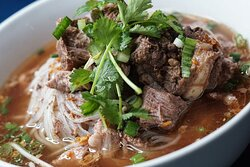 Boat Noodles # 2 - Short Ribs in dark broth topped with fried garlic, scallion, cilantro