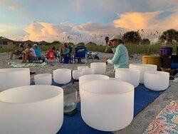 Crystal Bowls at Sunset