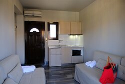 Apartment room: Living room & a fully equipped kitchen