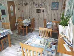 Our beach themed Breakfast dining area completed in 2021. We serve our breakfast between 8am-9am, which consists of tea/coffee, a choice of cereals, orange juice, toast & jams, and a full English cooked breakfast using free range British eggs.