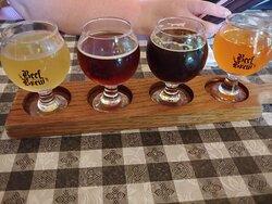 Beer flight. Great wine and beer menu.