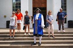 Town Crier Ed Christopher leading a Discover Hamilton tour through the City of Hamilton.