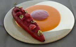 Florina Pepper, tomato tartar, local cheese, tapioca, rasberries