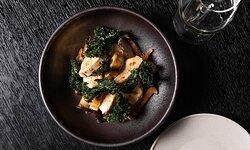 Grilled chicken, crispy kale, marinated mushrooms