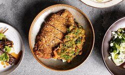 Crumbed pork, Japanese curry