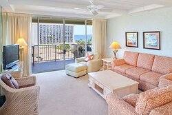 Aston at The Whaler on Kaanapali Beach 2 Bedroom 2 Bathrrom Ocean View - Living Area