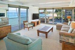 Aston at The Whaler on Kaanapali Beach 2 Bedroom 2 Bathroom Oceanfront Premium - Living Area