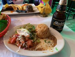 My sides that came with my combo fajitas! Yup it's all there and yummy too. Oh yeah, you do need a Modelo Negra to wash it all down.  I prefer it that way after my Margarita first!