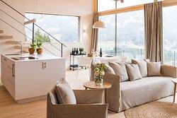 Wohnzimmer mit offener Küche Ferienwohnung Waidmannsheil