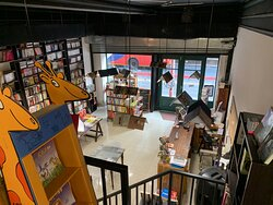 Seen from the mezzanine, where we keep children's books in all 11 languages.