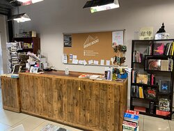 Our customer service desk, made from wood reclaimed from an abandoned factory.