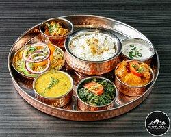 Nepali Dal bhat kip,lams,vis , veg , vegan