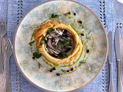 "Modern Greek Dining Starter Tart (Phyllo Dough Tart, Smoked Eggplant, Anchovies Marinated like Corfiot ""Savoro"", Raisins, Pine Nuts, Rosemary)"