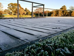 Winters moring across the road at Lake Weeroona, on the boardwalk.