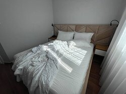 You can barely move in the space between the walls and the bed. 340 EUR for three nights in June.