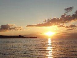Sunset over Banburgh castle