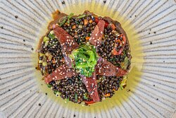 Beluga lentils, cucumber, sweet red pepper, carrot, caper, grape tomatoes, tuna, soya sauce