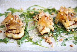 Grilled Halloumi with Rocca, Roasted Pine Nuts, Quince Jam and Aromatic Coriander Oil.