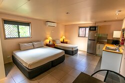 Studio Double. Our self-contained studios are enclosed by lush tropical gardens and feature views of Mosby Creek. Each studio can be configured with either a king, queen or single bed.