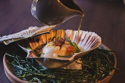 Hand- dived Orkney scallop