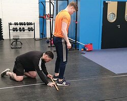 John McCormack in one of his personal training sessions, testing his client's power.