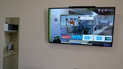 Quieter Deluxe Queen with Smart TV where you can view local information