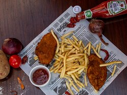 Chicken Escalope  Breaded fried chicken served with French fries