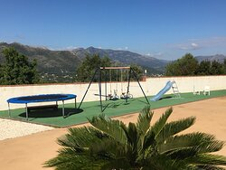 Playground for the little ones with view over the Pop valley