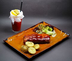 """Slow cooked pork ribs with """"Bloody mary"""" cocktail"""