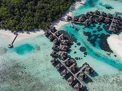 Aerial shot overlooking the overwater bungalows