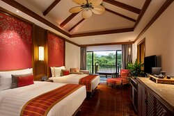 Balcony twin bedroom with river side view