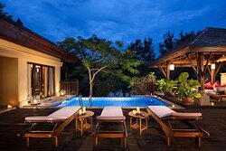 Swimming pool of  two bedrooms villa with riverside view