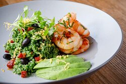 Sauteed Rice with avocado and shrimp