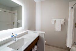 Guestroom bathroom at the Holiday Inn Express St. Peters MO