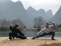 Morning class outside near the Yulong River.