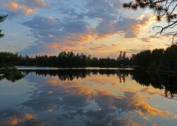 Kawishiwi Lodge from cabin at sunset