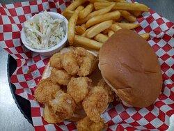 Shrimp Burger, fries and homemade slaw