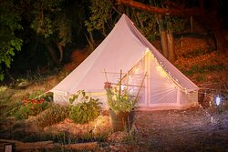 One of our six luxurious bell tents