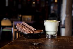 A frozen lime margarita and churros. The perfect way to round out an Amigos meal!