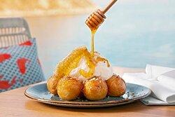 Honey balls with mastic ice cream