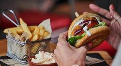 Burger at World Bar