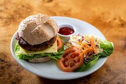Vegan Burger, delicious, and made in our kitchen!