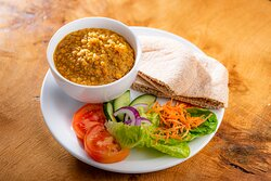 Dhal, with pitta and salad garnish - filling and yummy!