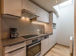 Voll ausgestattete, moderne Küchen in den Apartments im Rosenhof in Mayrhofen
